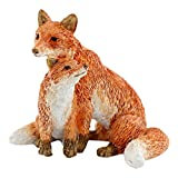 Top Collection Miniature Fairy Garden and Terrarium Mama Fox with Baby Statue, Red For Sale