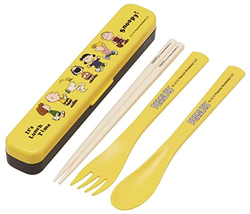 - Skater Slim Trio Set Chopsticks Spoon Fork Set Snoopy Lunch Time PEANUTS Made in Japan TAC 1