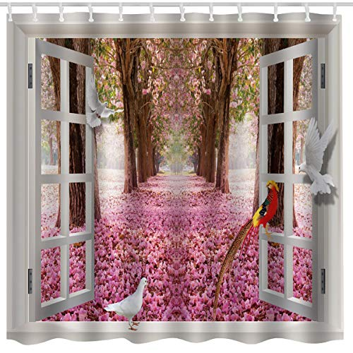 Fabric Cherry Blossoms - Nature Flower House Decor Shower Curtain Fabric,Cherry Blossom Floral Country Romantic Spring Tree Window Art Print,Waterproof Fabric Decorative Bathroom Decor with Hooks,72x72 Inch,Pink,White,Brown