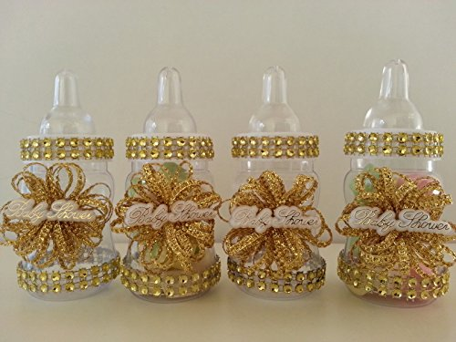 12 Gold Fillable Bottles for Baby Shower Favors Prizes or Games Girl Decorations