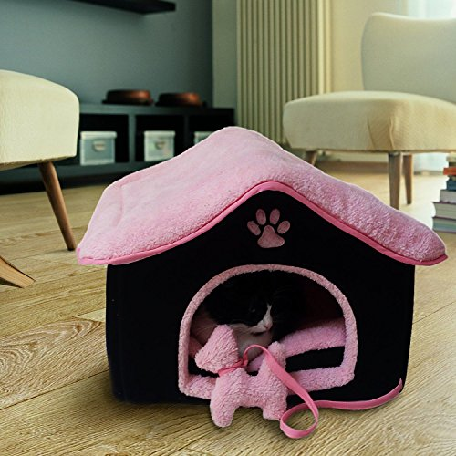 51Zy%2BWV91FL - Small Cat Bed/Cat House - This Self Warming Pet Bed is ideal for Kittens, Indoor Cats, Puppies & Toy Breed Dogs - Super Cozy and Cute for Cat Lovers