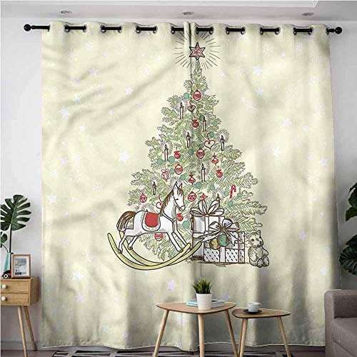 (BE.SUN Waterproof Window Curtains,Christmas,Tree with Rocking Horse,for Bedroom Grommet Drapes,W120x96L)