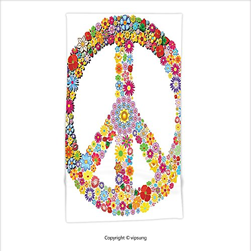 Vipsung Microfiber Ultra Assent Hand Towel-Groovy Decorations Collection Floral Peace Sign Summer Spring Blooms Love Gladness Themed Illustration Print Multi For Hotel Spa Beach Pool Bath