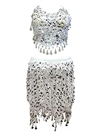 New Silver Tribal Sequins Mermaid Scale Belly Dance Costume Hip Scarf Shawl Set