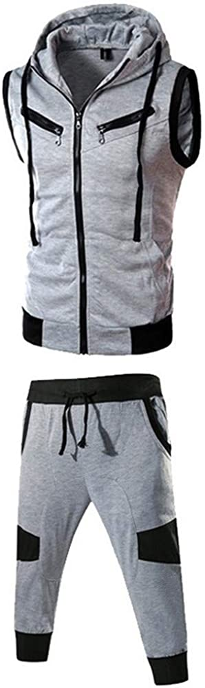 Full Zippers Sleeveless Hoodie for Men,NEWONESUN Running Shorts Summer Casual Slim Fit Two Piece Tracksuits Joggers Set