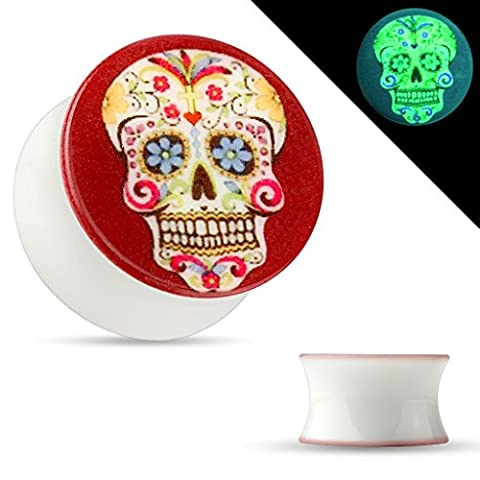 Ear Piercing Gauges Skull Glow in the Dark Double Flared Acrylic Saddle Plugs (08mm - 0g) (Skull 0 Gauges)