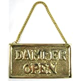 Hanging Solid Brass Fireplace Damper Open Closed Sign by MGS