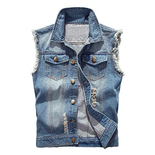 Jade Hare Men's Casual Button Up Slim Denim Vest Sleeveless Ripped Jean Waistcoat Jacket Motorcycle (Light Blue, X-Large)