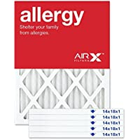AIRx Filters Allergy 14x18x1 Air Filter MERV 11 AC Furnace Pleated Air Filter Replacement Box of 6, Made in the USA