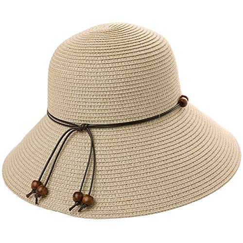 Beach Straw Sun Hat for Women Packable Foldable UV Protection Summer Fedoras Wide Brim Floopy Ladies Khaki Beige