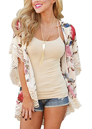 PRETTODAY Womens Floral Print Kimono Lace Hemline Loose Tops Sleeves Cover up Chiffon Blouse,Beige,Large
