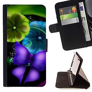 Momo Phone Case / Flip Funda de Cuero Case Cover - Borrosa de la mariposa del trullo vibrante - LG G3