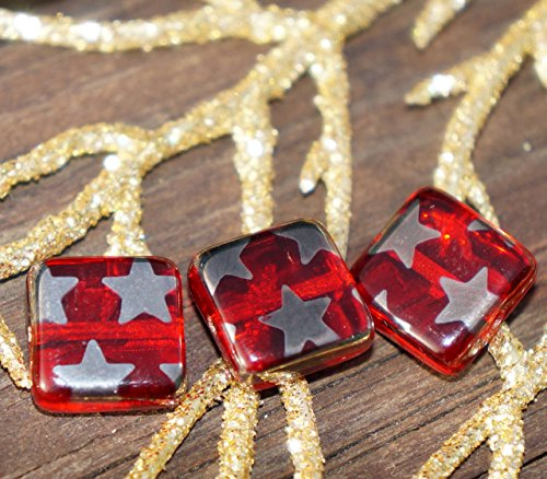 Silver Red Flat Square Glass Beads Square Czech Glass Beads Czech Beads Exclusive Red Czech Flat Square Beads 10mm 2pc