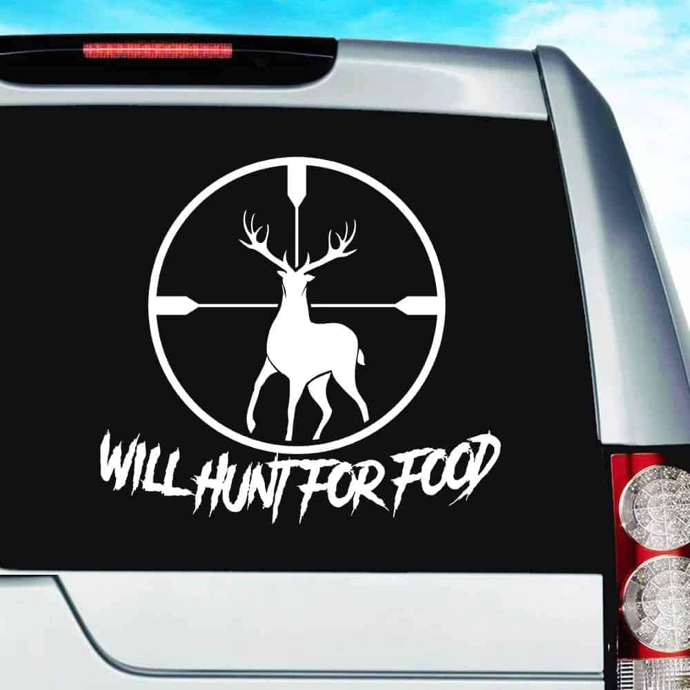 Will Hunt for Food Deer in Rifle Scope Vinyl Decal Sticker Bumper Cling for Car Truck Window Laptop MacBook Wall Cooler Tumbler | Die-Cut/No Background | Multi Sizes/Colors, 20-inch, Orange