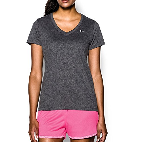 Under Armour Women's Tech V-Neck, Carbon Heather/Metallic Silver, Large (Womens Under Armour Sweats)