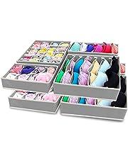 SITAKE Składany organizer na bieliznę, 8-częściowy zestaw - pudełka do przechowywania pod łóżkiem organizer do naczyń, biustonosza, krawatów, pasów, skarpetek, podkoszulek - dzielnik szuflad - organizery do szafy - (8 szt., szary)