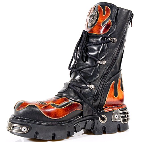 New Rock Metallic Rojo Cuero Botas M.107-S1 Fire, Black