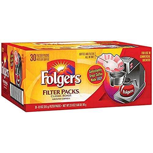 - Folgers Filter Packs Coffee, Classic Roast (.9 oz. packs, 30 ct.)- Pack of 2