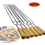 304 Stainless Steel Barbecue Forks Wooden Handle Double Fork Design,Suitable for Outdoor Barbecue,12Packs