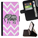 Graphic4You Tribal Elephant Chevron Pattern (Light Pink) Thin Wallet Card Holder Leather Case Cover for Sony Xperia XA Ultra