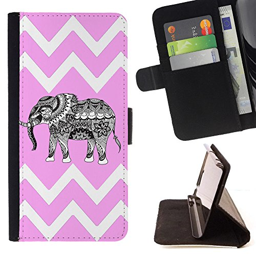 Tribal Elephant T-light Holder (Graphic4You Tribal Elephant Chevron Pattern (Light Pink) Thin Wallet Card Holder Leather Case Cover for Motorola Moto Z2 Force Edition/Moto Z2 Play)