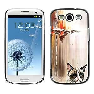 TopCaseStore / la caja del caucho duro de la cubierta de protección de la piel - Funny Angry Cat - Samsung Galaxy S3 I9300