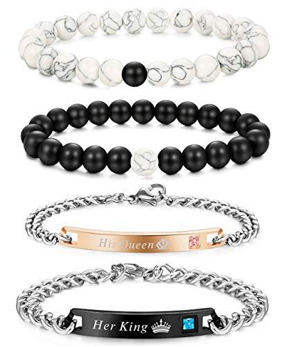 Besteel 4 Pcs Couples Distance Bead Bracelet for Men Women His & Her Stainless Steel Bracelets