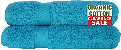 100% Pure Organic Luxury Hotel & Spa,Premium Quality. 700 GSM Extra Large towel Last long Super Soft, Plush and Ultra Absorbent Quick dry 35 x 70-Inch (Bath Sheet- Set of 2, Caribbean Aqua) by Aspendos Linen