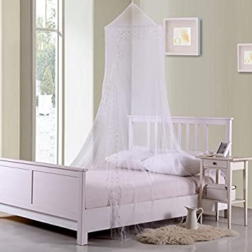 Childrens Girls See Through Pretty Princess White Canopy Twin/Full Queen Bed Frame Draperies Over & Amazon.com: Childrens Girls See Through Pretty Princess White ...