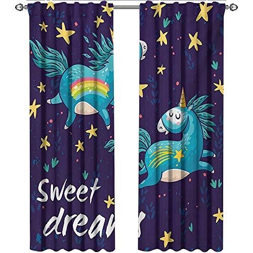 Returiy Sweet Dreams, Curtains Elegant, Two Unicorns Flying in Night Sky Childhood Fantasy Fairytale Themed Cartoon, Curtains for Boys Room, W108 x L108 Inch, - Dreams Sweet Curtains