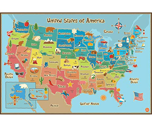 Wall Pops WPE0623 Kids USA Dry Erase Map Decal Wall Decals (Wall Maps Usa And World)