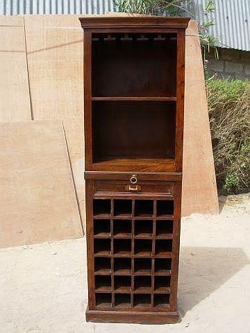 Solid Wood Wine Storage Bar Liquor Cabinet Curio Corner Rack