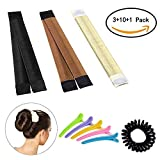 Hair bun maker-3 Pack Hair bun dount+10 Piece Professional Multicolor Plastic Hair Clips+Hair rope, Hair Styling Making DIY Curler Roller Hairstyle Tools