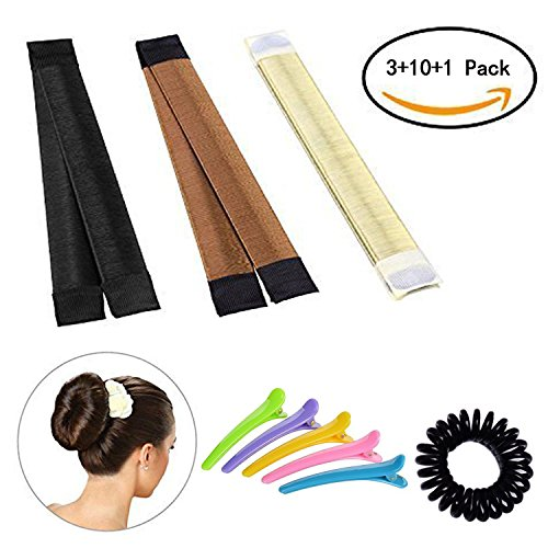 Hair bun maker-3 Pack Hair bun dount+10 Piece Professional Multicolor Plastic Hair Clips+Hair rope, Hair Styling Making DIY Curler Roller Hairstyle Tools by haomiao
