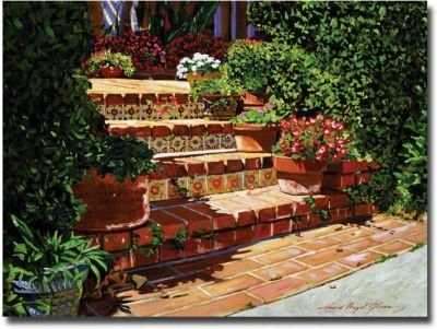A Spanish Garden by David Lloyd Glover, 24x32-Inch Canvas Wall Art (David Lloyd Glover Garden)