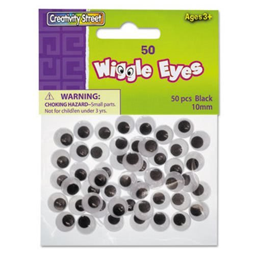 The Chenille Kraft Company Round Black Wiggle Eyes, 10mm, Black, 50/Pack (119 Pack) by Creativity Street