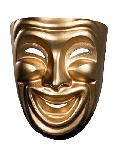 10474 (Comedy) Comedy Mask Smile Gold (Comedy Tragedy Drama Masks)