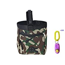 Dog Treat Pouch, Training Bag With Poop Bag Dispenser Carriers, Waist Clip Drawstring Treats and Toys By Outdoor's Sky (Green)