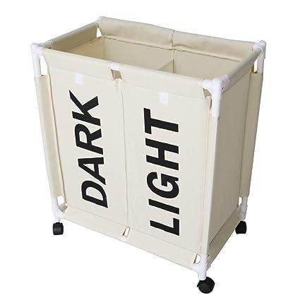 ZYDJ Doble Compartimento Cesto para La Colada Almacenamiento De Ropa Sucia Cesta De Almacenamiento Cesto Ropa