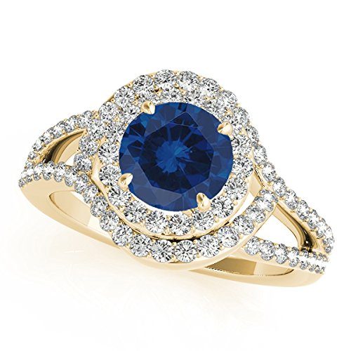1.60 Ct Ttw Diamond And Sapphire Ring In 14k Yellow Gold