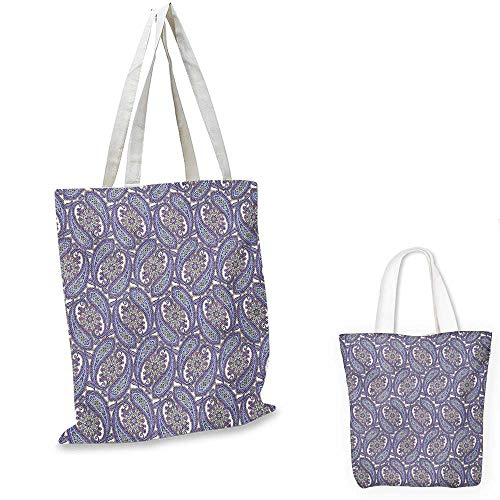 Paisley canvas messenger bag Tribal Floral Ornamental Patterned Design with Raindrop Like Shapes Artwork canvas beach bag Blue and Purple. 12
