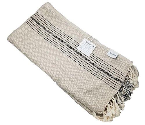 (InfuseZen Diamond and Zigzag Handwoven Turkish Towel in Beige, Oversized Peshtemal Bath Towel or Beach Towel (Beige))