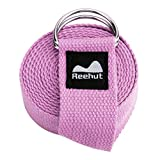 REEHUT Yoga Strap 6ft with Ebook - Durable Polyester Cotton Exercise Straps w/Adjustable D-Ring Buckle for Stretching, General Fitness, Flexibility and Physical Therapy Pink