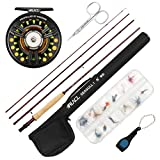 RUNCL Fly Fishing Rod & Reel Combo Seagull I, Complete Fly Fishing Kit, Starter Kit - Fuji A Guides, Solid Wood Reel Seat, Teflon Disc-Drag System, Handmade Fly Fishing Flies (Medium Fast, 9' 5#)