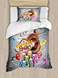 Ambesonne Poker Tournament Duvet Cover Set Twin Size, Welcome to Casino Colorful Chips and Cards Dice and Roulette Win Jackpot, Decorative 2 Piece Bedding Set with 1 Pillow Sham, Multicolor
