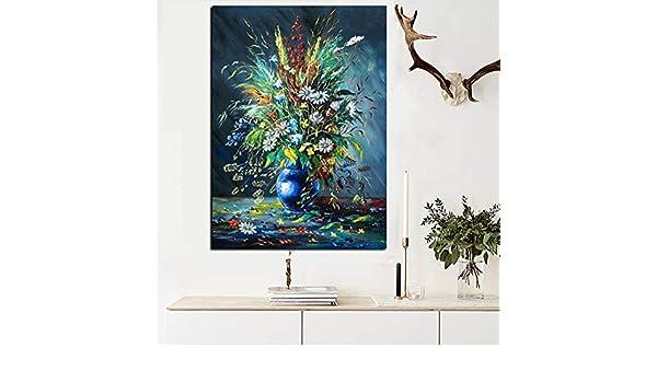 LiMengQi Florero Floral Moderno Arte Abstracto Pintura al óleo Lienzo Pared Imagen Moderna para la decoración de la Sala de Estar (sin Marco) A2 60x90CM: Amazon.es: Hogar