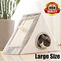 Cat Condo,Cat Tower with a Cat Scratch Pad and Bell-Ball,Scratcher with Catnip,Scratching Posts, Easy to Fold and Store Great for Small Cats and Big Cats Indoor/Outdoor