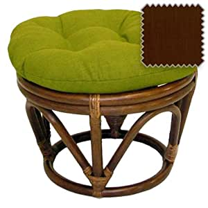 18 Inch Bali Rattan Papasan Footstool With Cushion Solid Outdo