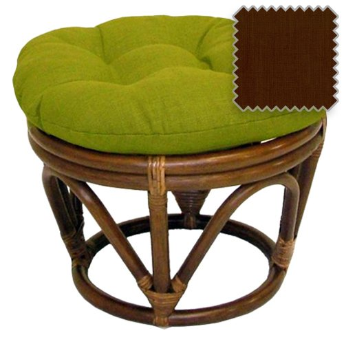 International Caravan 3301-REO-S10-IC Furniture Piece Rattan Ottoman with Outdoor Fabric Cushion