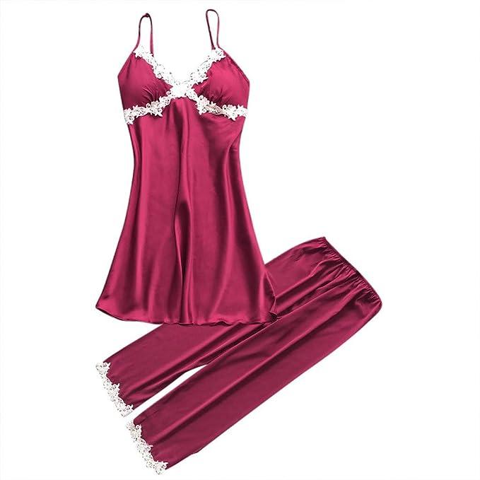 Internet_Mujer Sexy Pijamas de Camisola de Gran tamaño + Pijama de Pantalones Conjunto de 2 pcs